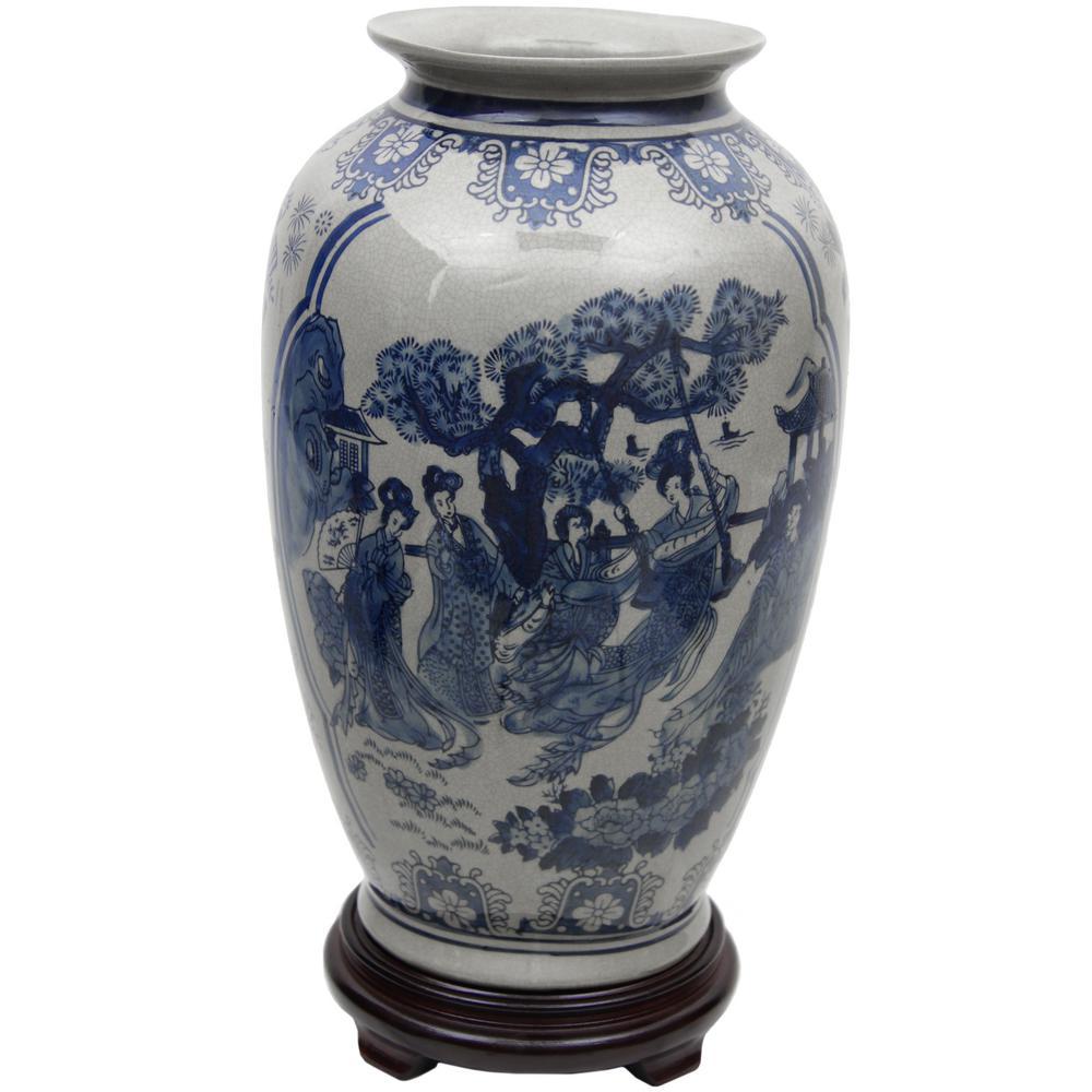 Oriental Furniture 14 in. Porcelain Decorative Vase in Blue