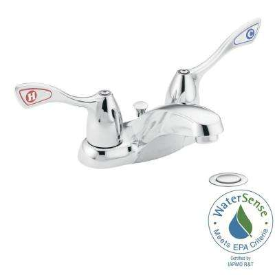 M-Bition 4 in. Centerset 2-Handle Bathroom Faucet in Chrome with Metal Drain Assembly