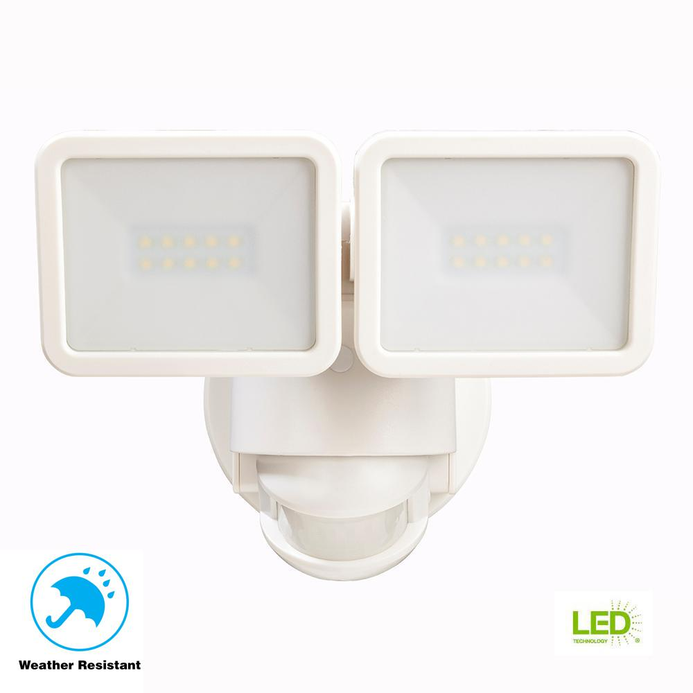 Defiant 180 Degree White Motion Activated Outdoor Integrated Led Flood Light Twin Head