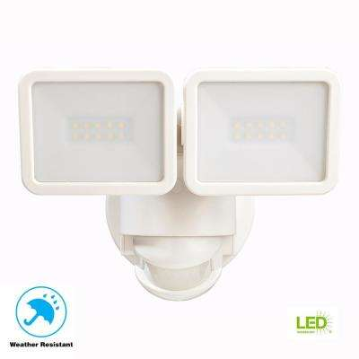 180 Degree White Motion Activated Outdoor Integrated LED Flood Light Twin Head
