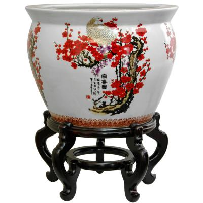 Oriental Furniture 12 in. Cherry Blossom Porcelain Fishbowl