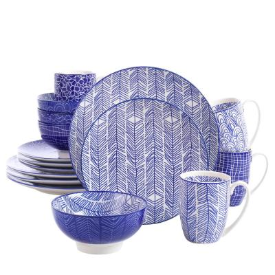16-Piece Casual Blue Patterned Porcelain Dinnerware Set (Service for 4)