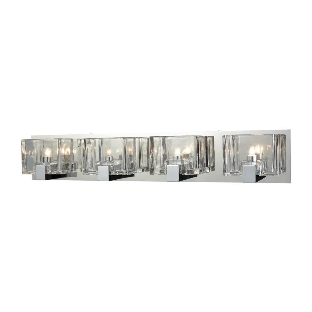 Ridgecrest 4-Light Polished Chrome with Clear Cast Glass Bath Light
