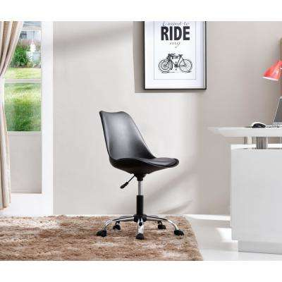 Black Armless Swivel Office Desk Chair with Cushion Seat