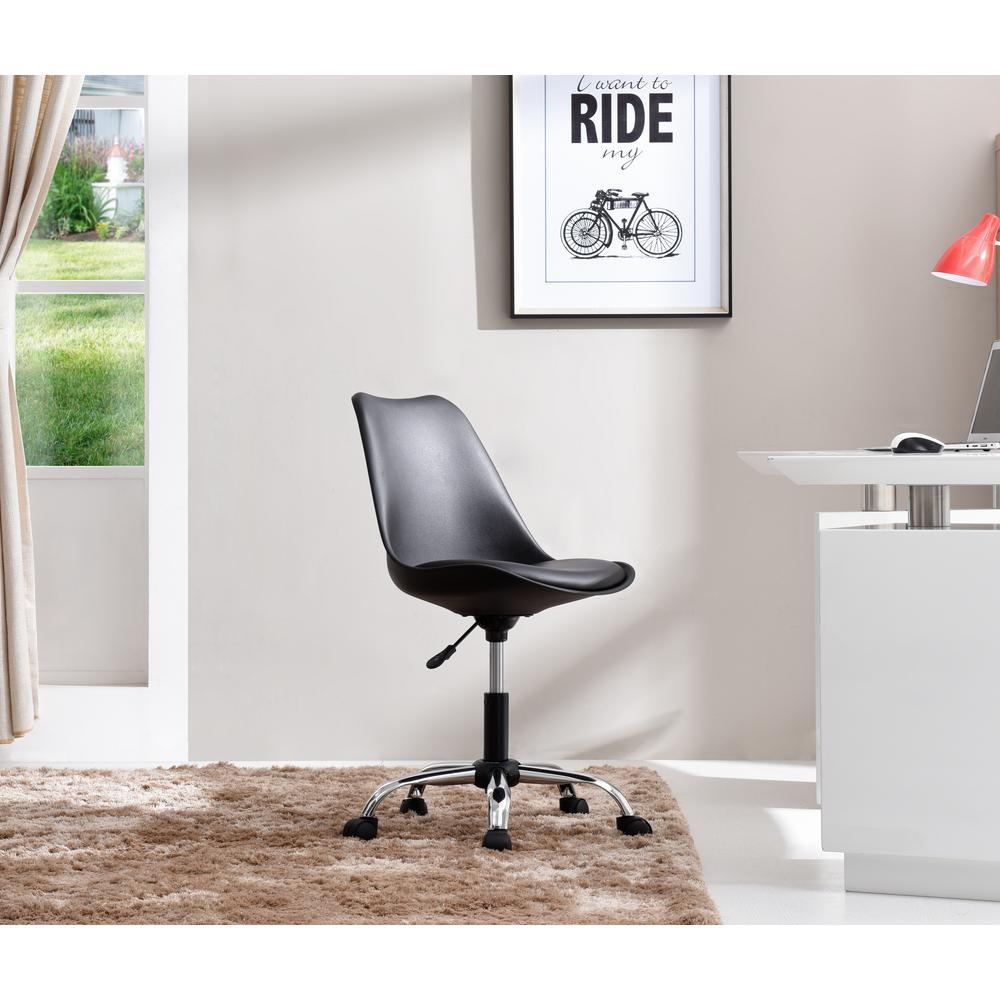 Hodedah Black Armless Swivel Office Desk Chair with Cushion Seat