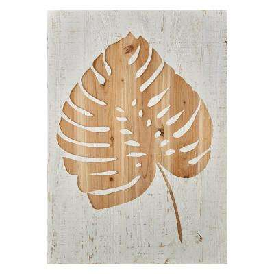 "28 in. x 20 in. ""Tropical Leaf Laser Cut"" Wood Wall Art"