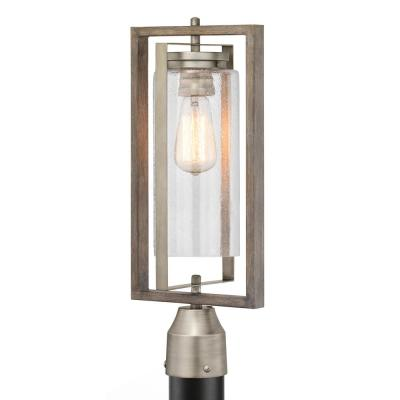 Palermo Grove 1-Light Outdoor Antique Nickel Post Light  with Weathered Gray Wood Accents
