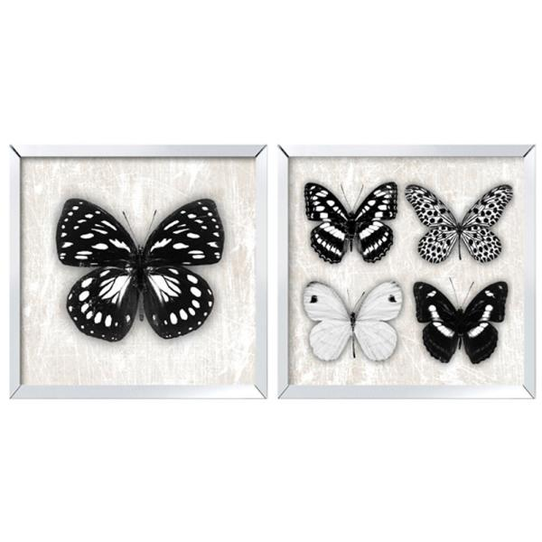 Arthouse Set of 2 Butterfly Mirror Framed Prints Wall Art 4063