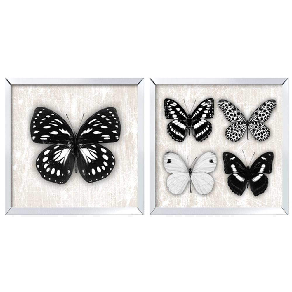 Set of 2 Butterfly Mirror Framed Prints Wall Art