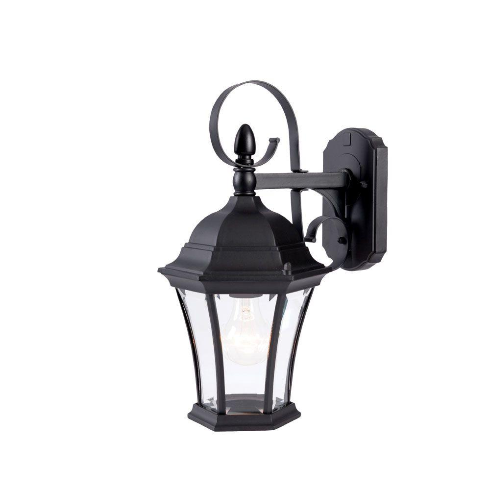 New Orleans Collection 1-Light Matte Black Outdoor Wall-Mount Light Fixture