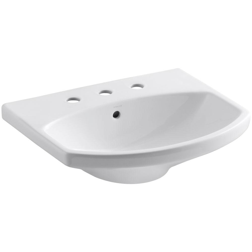 Cimarron 3-5/8 in. Vitreous China Pedestal Sink Basin in White with