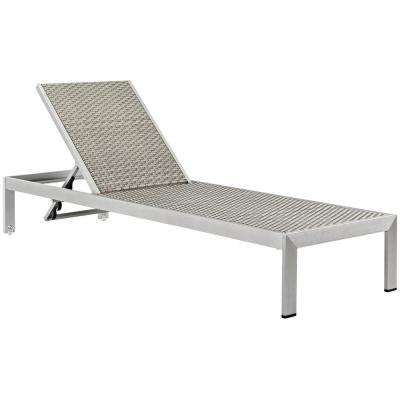Shore Patio Aluminum Rattan Outdoor Chaise Lounge in Silver Gray