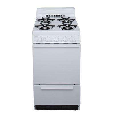 20 in. 2.42 cu. ft. Freestanding Battery Spark Ignition Gas Range in White