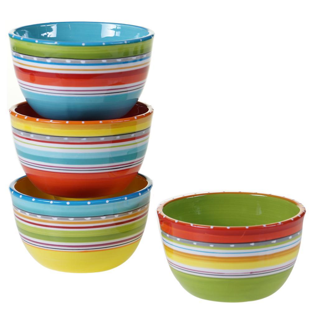 Mariachi Multi-Colored 5.25 in. Ice Cream Cereal Bowl Set (Set of 4)