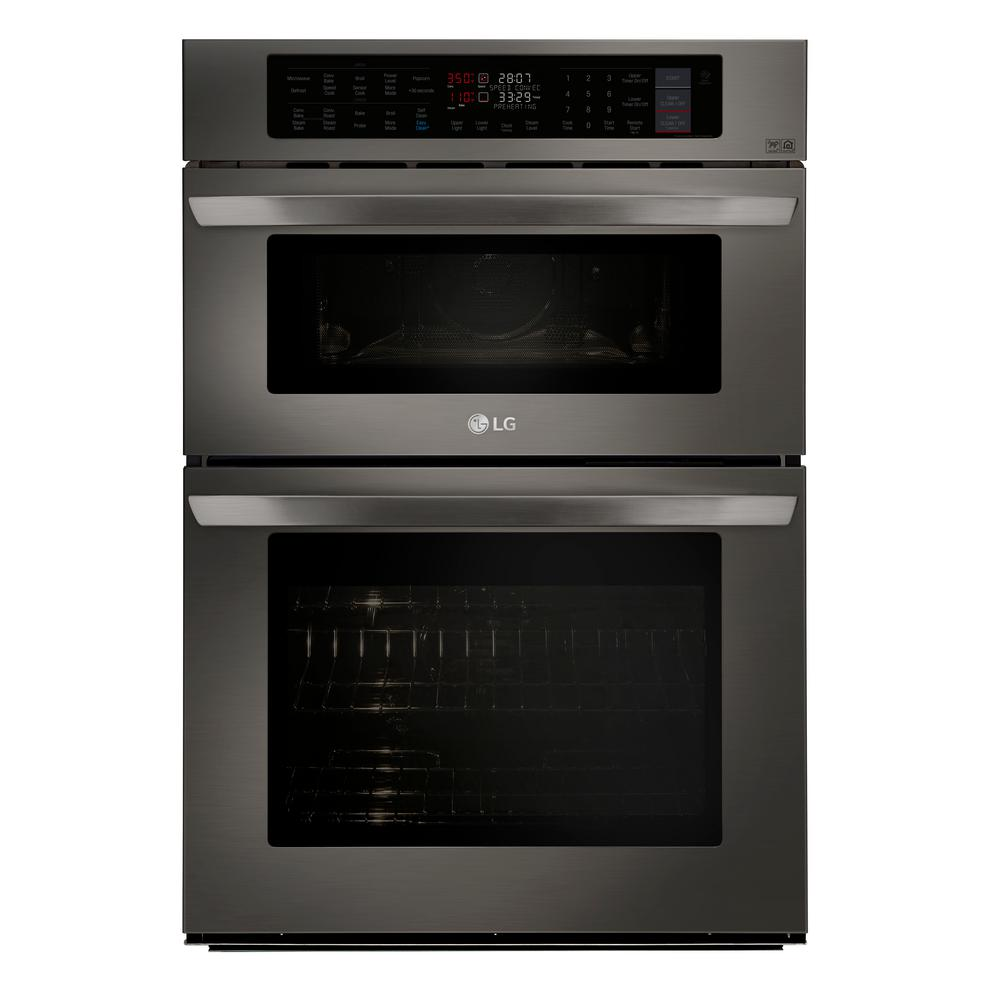 Electric Convection And Easyclean Wall Oven With Built In Microwave Black Stainless Steel