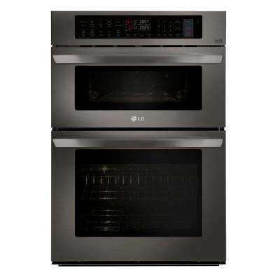 30 in. Electric Convection and EasyClean Wall Oven with Built-In Microwave in Black Stainless Steel
