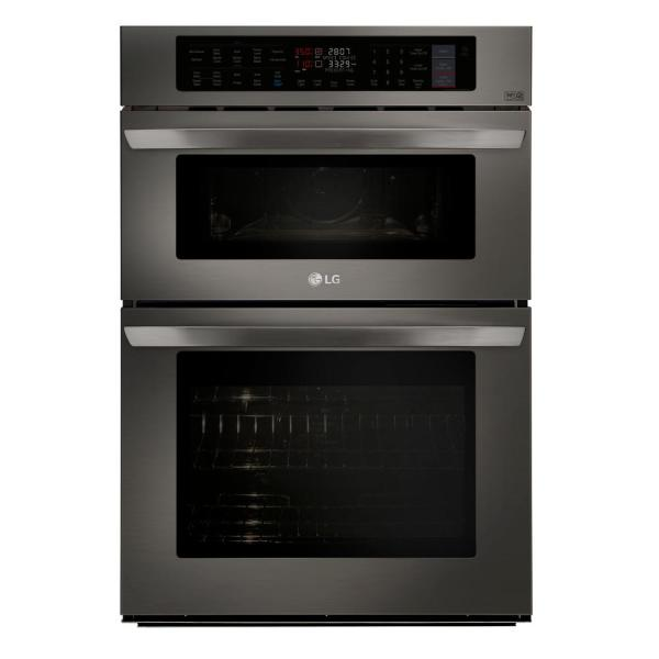 LG Electronics 30 in. Electric Convection and EasyClean Wall Oven with Built-In Microwave in Black Stainless Steel