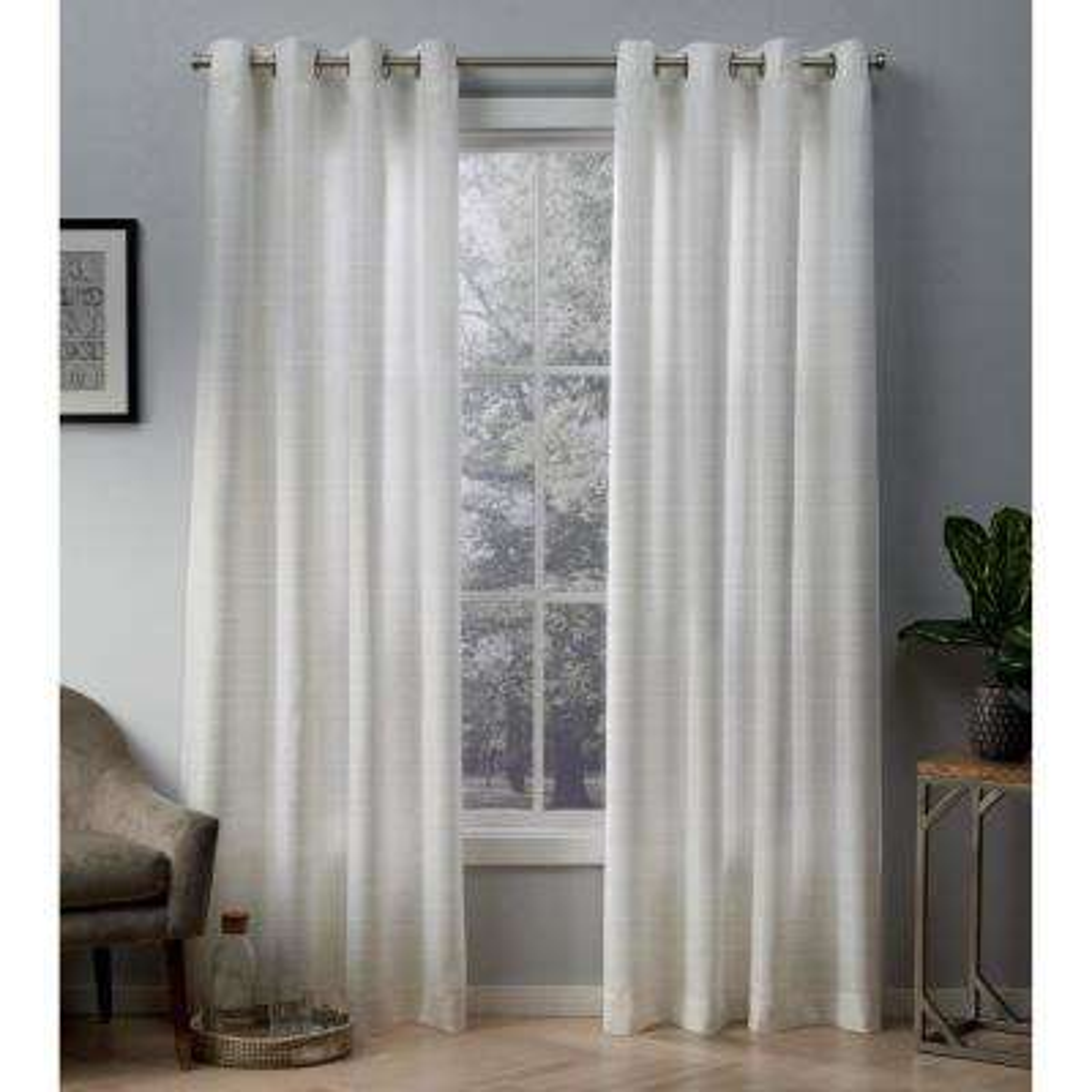 Whitby 54 in. W x 84 in. L Metallic Slub Grommet Top Curtain Panel in Winter White, Gold (2 Panels)