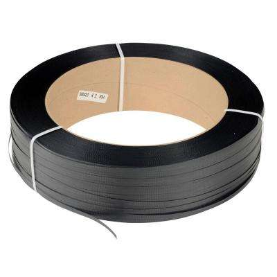 9,000 ft. Roll 16 in. x 6 in. Core Heavy Duty Black Poly Strapping