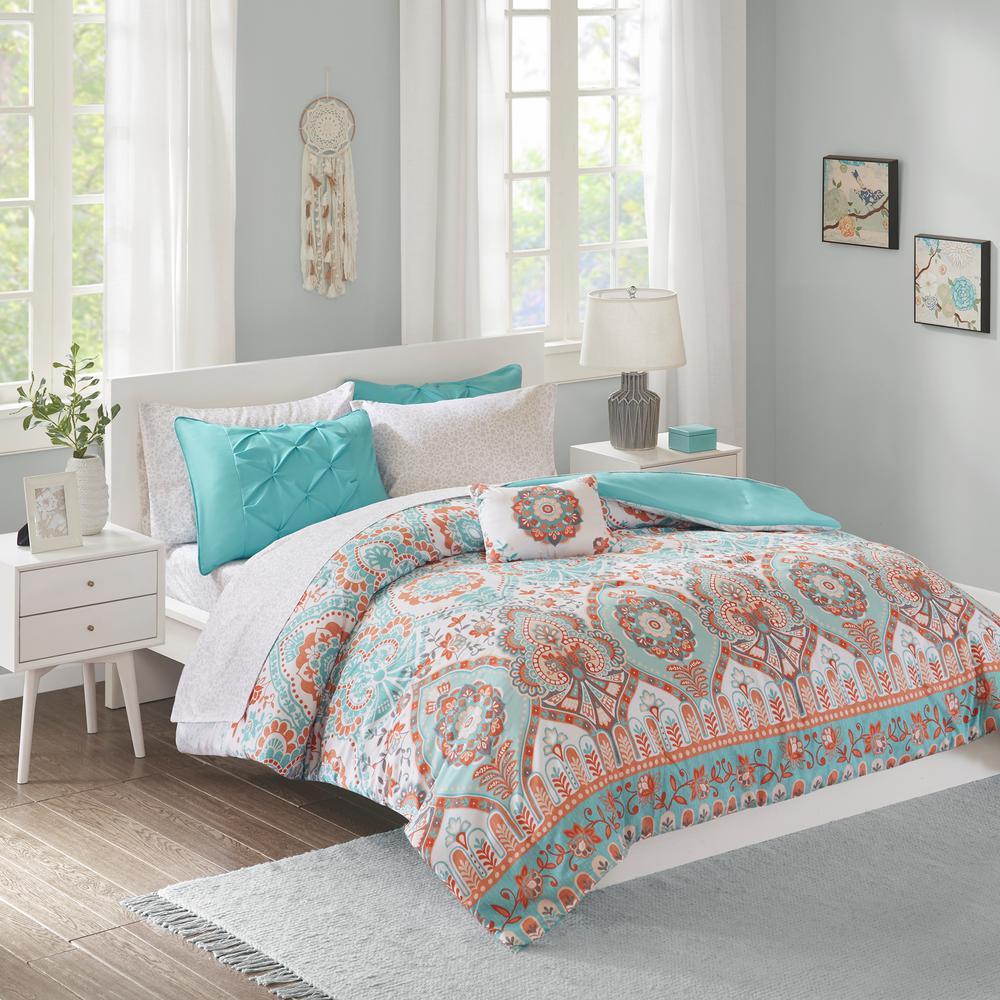 Avery 8-Piece Aqua Queen Global Comforter Set