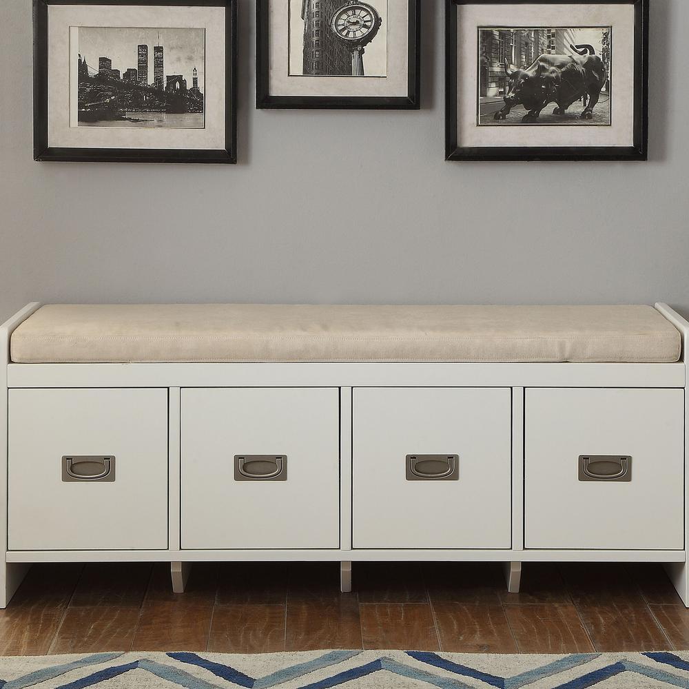 Berci White Storage Bench
