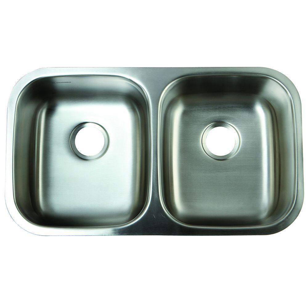 Kingston Undermount Stainless Steel (Silver) 32 in. 0-Hol...