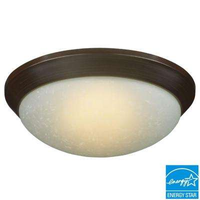 12.7 in. 120-Watt Equivalent Oil-Rubbed Bronze Integrated LED Flushmount with Etched Linen Glass Shade