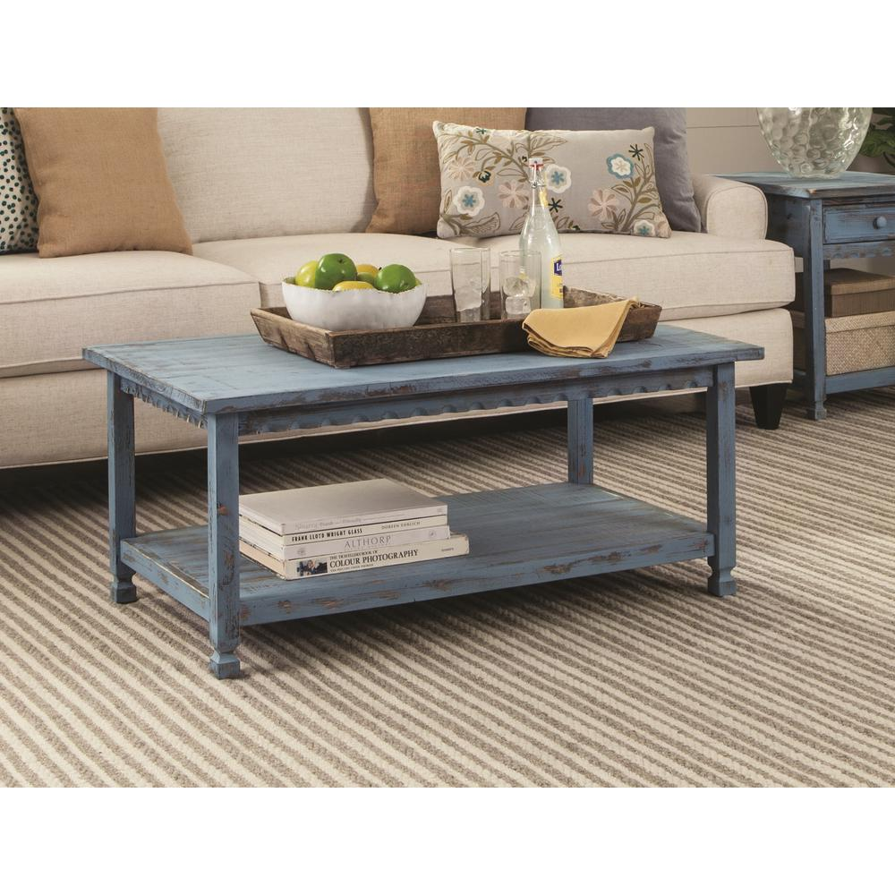 Alaterre furniture country cottage blue antique 42 in l coffee table acca11ba the home depot