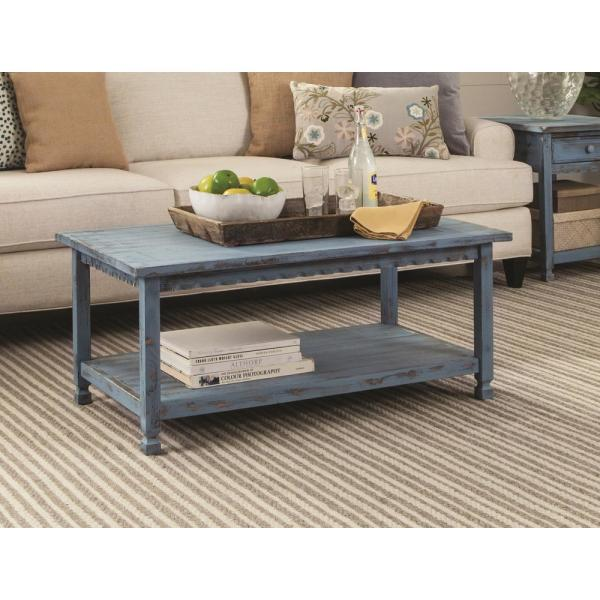 Country Cottage Blue Antique 42 in. L Coffee Table