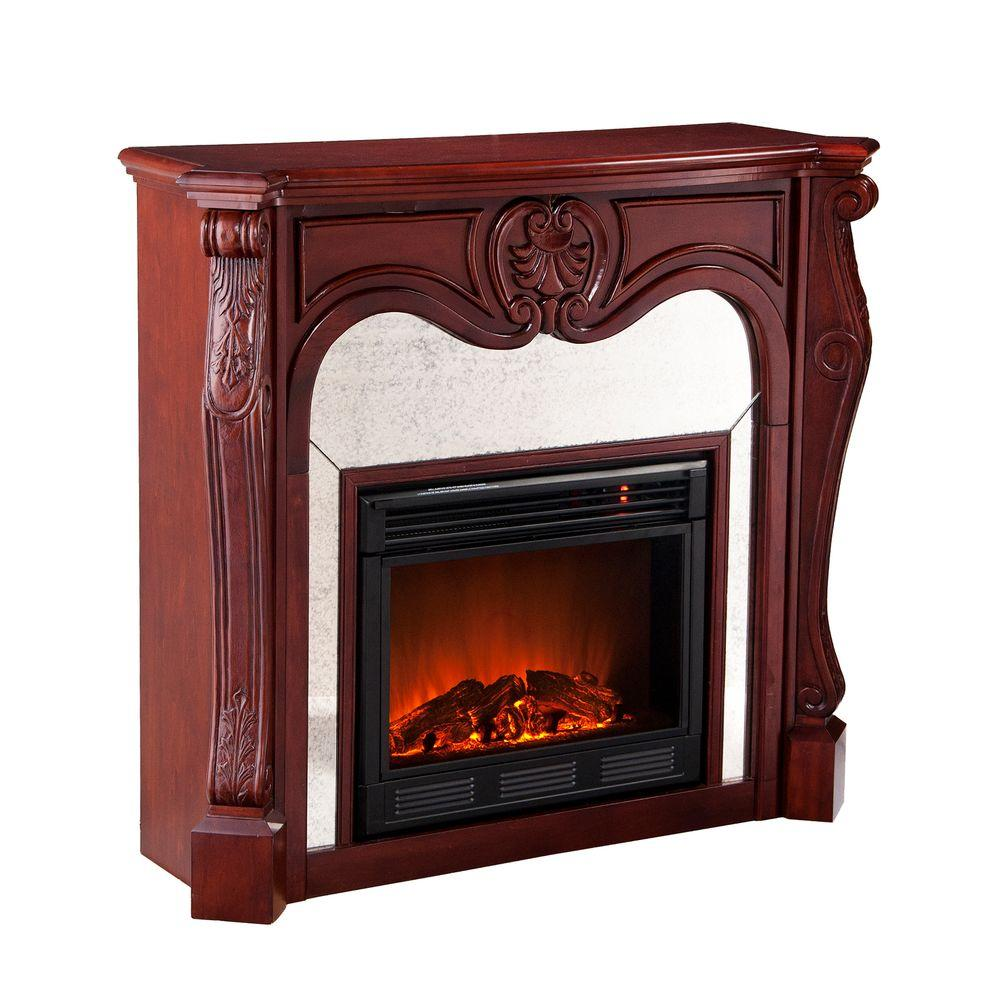 Southern Enterprises Belmont 45 in. Electric Fireplace in Cherry-DISCONTINUED