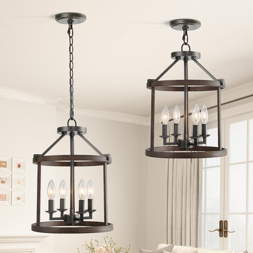 Lnc Kitchen Pendant Lighting Open Cage 4 Light Painted Wood With Vintage Black Semi Flush Convertible Hanging Pendant Light A03406 The Home Depot