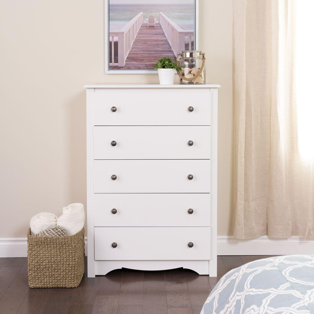 Prepac monterey 5 drawer white chest wdc 3345 k the home depot