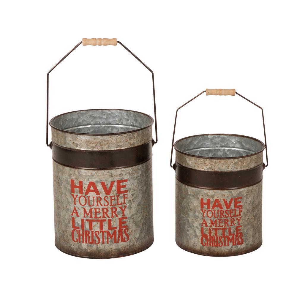 Glitzhome Christmas Farmhouse Christmas Galvanized Metal Round Container (Set of 2)