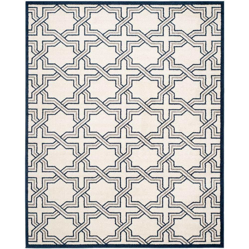 Amherst Ivory/Navy 8 ft. x 10 ft. Indoor/Outdoor Area Rug