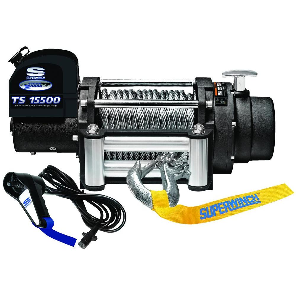 Superwinch Tiger Shark 15500 12-Volt DC Off-Road Winch with 4-Way Roller Fairlead and Remote