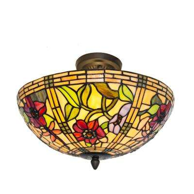 2-Light Multi-Colored Stained Glass Peonies Semi-Flushmount