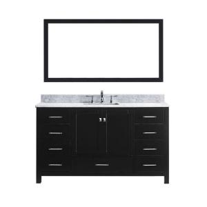 Virtu USA Caroline Avenue 60 inch W x 36 inch H Vanity with Marble Vanity Top in Carrara White with White Round Basin... by Virtu USA