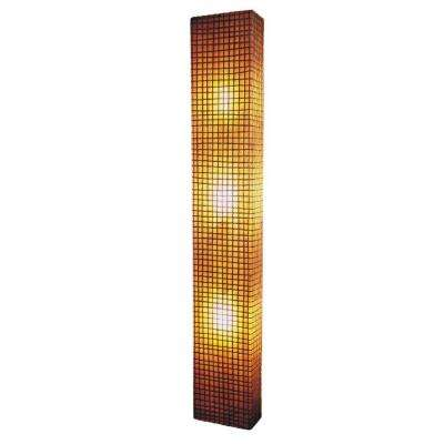 Modern 3-Light Amber Wall Sconce with Natural Rattan Accent in Square Pattern