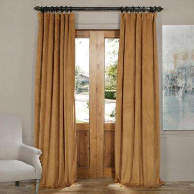 Blackout Signature Amber Gold Blackout Velvet Curtain - 50 in. W x 96 in. L (1 Panel)