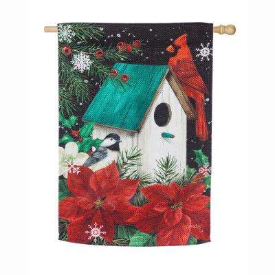 28 in. x 44 in. Poinsettia Birdhouse House Textured Suede Flag