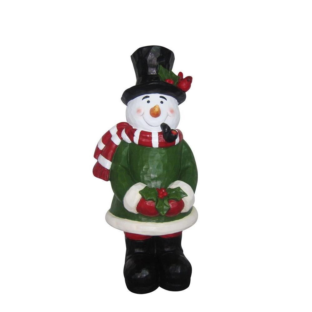 Alpine snowman garden statue byb224 the home depot for Christmas snowman decorations