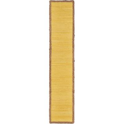 Sunny Day 14 in. W x 72 in. L Yellow Jute Border Table Runner