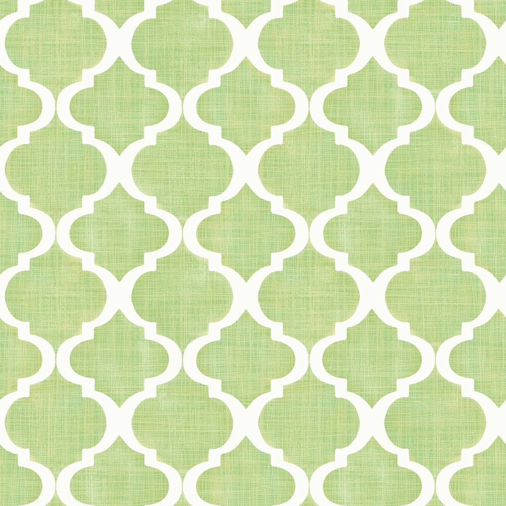 Tabitha Golden Green Watercolor Quatrefoil Wallpaper Sample