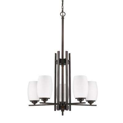Sophia Indoor 5-Light Oil Rubbed Bronze Chandelier with Glass Shades