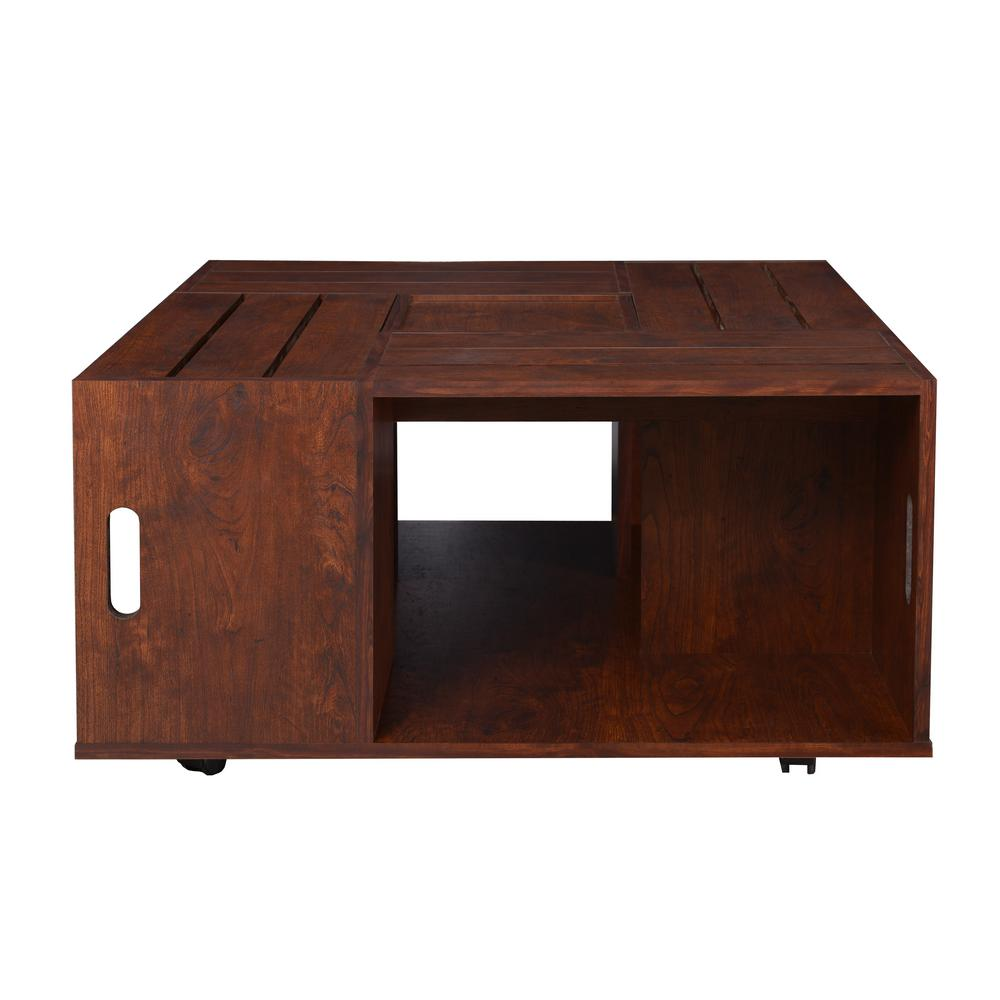 Furniture Of America Alba Vintage Walnut Crate Coffee Table Ynj 142