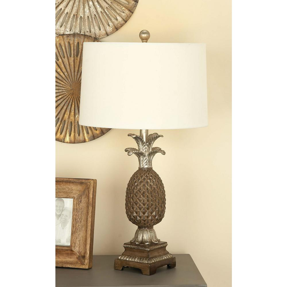 Litton Lane 28 in. Classic Brown Pineapple Table Lamp