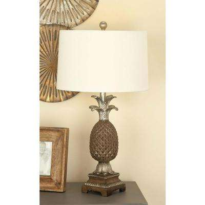 28 in. Classic Brown Pineapple Table Lamp