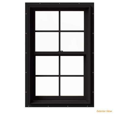 25.375 in. x 40 in. W-2500 Series Black Painted Clad Wood Double Hung Window w/ Natural Interior and Screen
