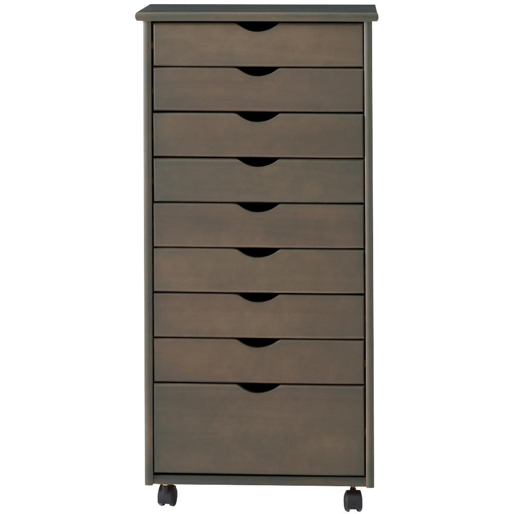 Stanton 9-Drawer Wide Storage Cart in Antique Grey