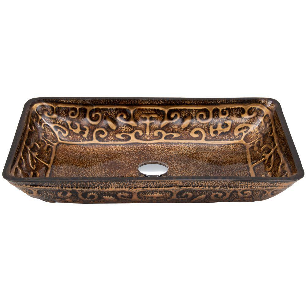 VIGO Rectangular Glass Vessel Sink in Golden Greek
